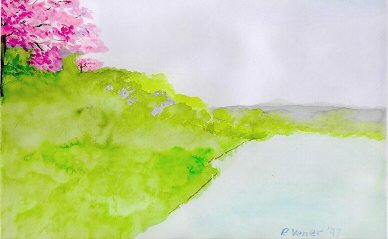 flowering tree near lake watercolour ©2005, Patricia C Vener