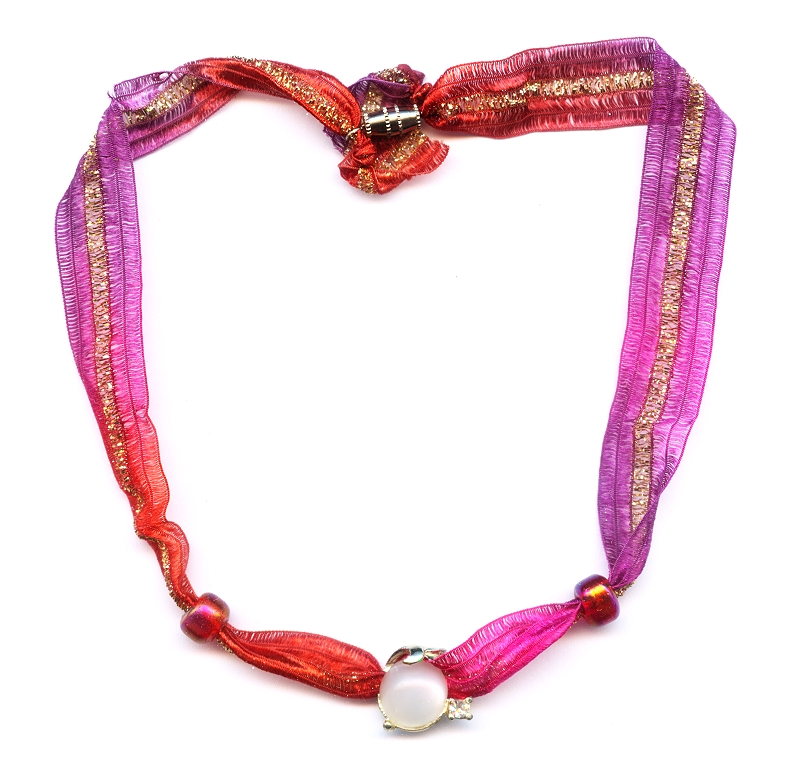 Ribbon Necklace with Vintage Necklace Component