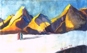watercolor landscape with mountains and travelers