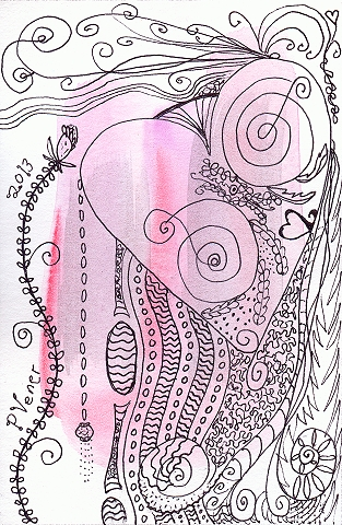 """Love Grows"" ©2013, Patricia C Vener is a watercolor and ink vignette drawing"