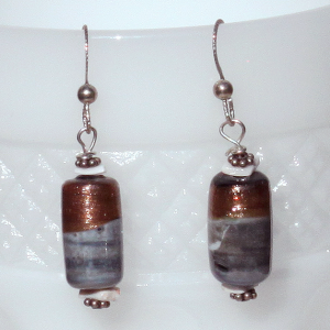 Vintage lampwork mist and bronze colored beads create a pair of earrings of non-neutral glamor