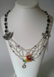 Bead Weaving fine art necklace, The Balance of Chaos and Harmony