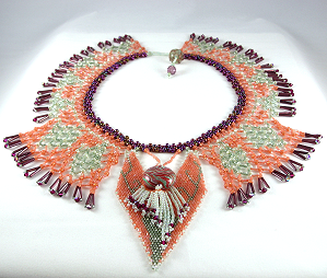 "Beadwoven Art to be worn by Patricia C Vener, ""Autumn Goddess"""