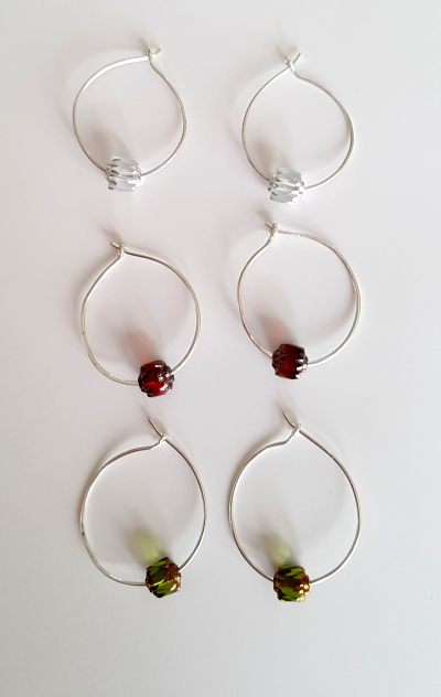 Silver Loop earrings with beads