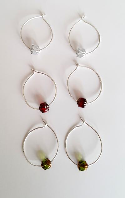Silver Loop earrings with beads