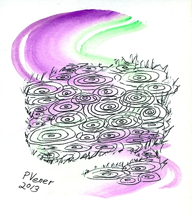 Pen and ink on watercolors of rain drops hitting a puddle, fine art by Patricia C Vener
