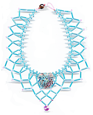 rhinestone brooch with new stones becomes focal point of netted necklace © 2007, Patricia C Vener