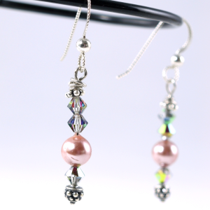 Pink Swarovski pearl and volcano bicones, fancy bali silver spacer and headpin, sterling silver earwires, $35.00 by Patricia C Vener