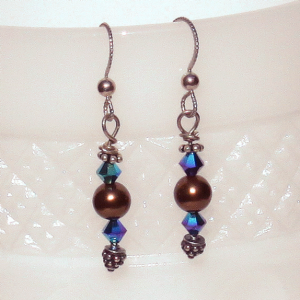 Brown Swarovski pearl and bicones, bali silver spacer and headpin, sterling silver earwires, $25.00 by Patricia C Vener