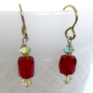 delicate red and rainbow yellow dangle earrings with niobium earwires, $14.00 by Patricia C Vener