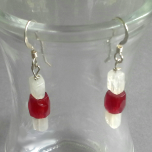 brilliant rainbow moonstone and red faceted barrel bead dangle earrings with sterling silver earwires, $14.00 by Patricia C Vener