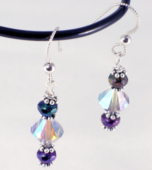 silver Swarowski bicone and faceted Czech crystal earrings, with fancy bali silver spacers, sterling silver earwires, $35.00 by Patricia C Vener