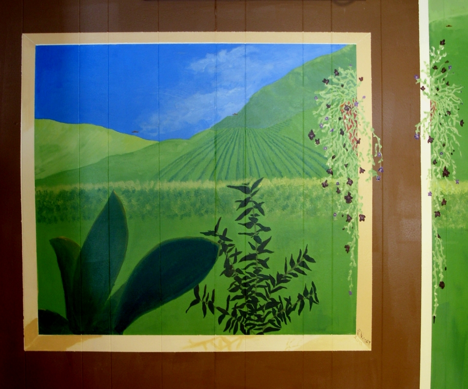 window overlooking garden and coffee fields part of my mural at Bread and Chocolate in Hamden, CT. � 2011, Patricia C Vener