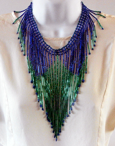 Long fringe green and blue bead weaving neckpiece © Patricia C Vener