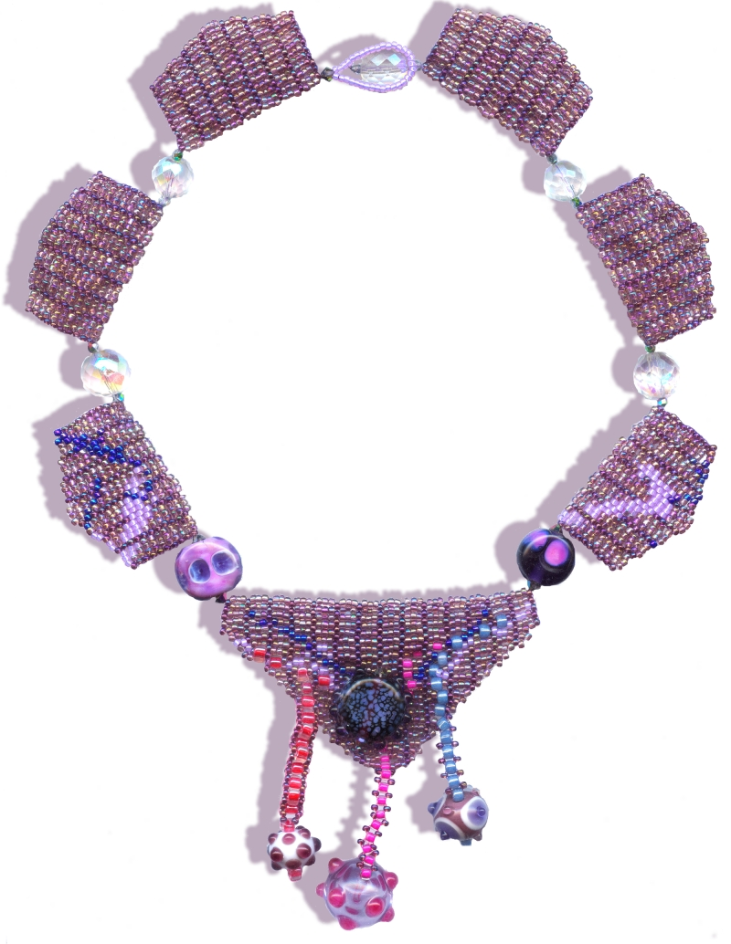 bead woven necklace mauve bead weaving with faceted crystals and lamp worked beads © Patricia C Vener