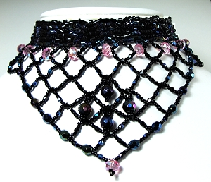 bead netting necklace in black and pink © Patricia C Vener