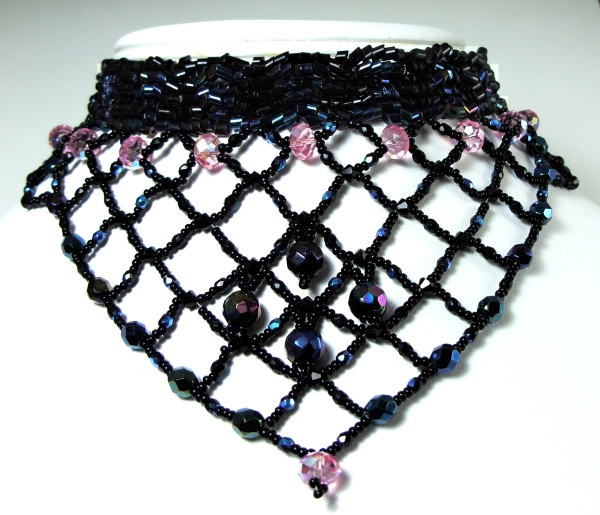 bead woven bib choker necklace in black and pink © Patricia C Vener