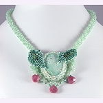 bead woven necklace in sea green bead weaving with polished stone cabochon © Patricia C Vener