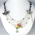 bead woven necklace statement in black white green and orange © Patricia C Vener