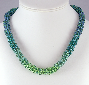 Dryad is a winsome name for a sturdy bead woven necklace celebrating nature's greens