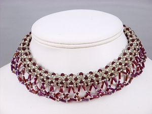 Flamenco, tubular bead weaving in cranberry and white
