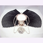 Bead woven collar in black and neutrals with large cabochans © Patricia C Vener