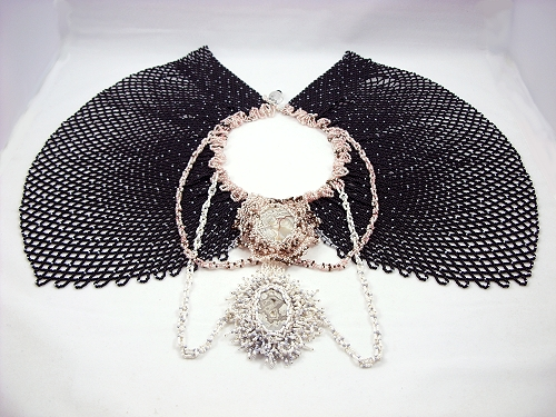 Lace Me Up, beaded capelet by Patricia C Vener copyright 2011, by the artist
