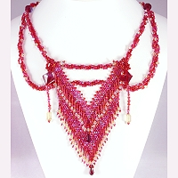 bead woven necklace red, yellow art necklace © Patricia C Vener